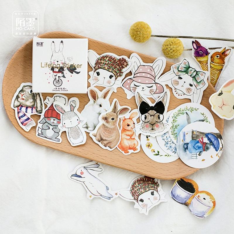 Paquete de pegatinas Kawaii con conejo de Pascua de 45 Uds., material adhesivo para álbum de recortes, material de papelería Escolar, suministros escolares 2017