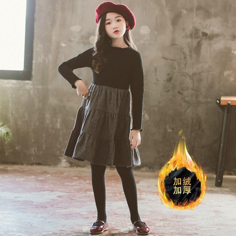 Vestido de invierno para niñas y adolescentes, traje elegante coreano de manga larga de terciopelo negro y Princesa para niños de 5, 6, 7, 8, 9, 10, 11, 12, 13, 14 y 15 años