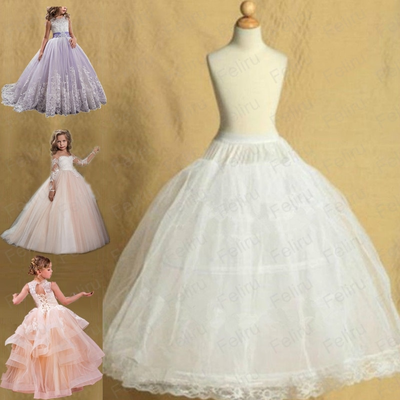 2 Hoop Lolita Skirt For Pettiskirt Kids Wedding Flower Girls Petticoat Underskirt Slips Princess For Child 2-14 Years Vestidos