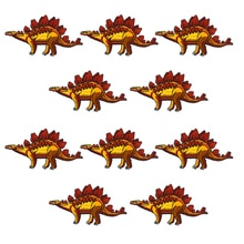 10 PCS Animals Children Patches Cartoon Stegosaurus Dinosaur Embroidered Badge Applique Patch Sewing on Clothes DIY Garment Hat