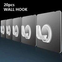 Crochet mural Transparent de 20 pieces  crochets de suspension muraux de porte auto-adhesifs solides  ventouse de tasse de support de charge lourde pour la cuisine et la salle de bains