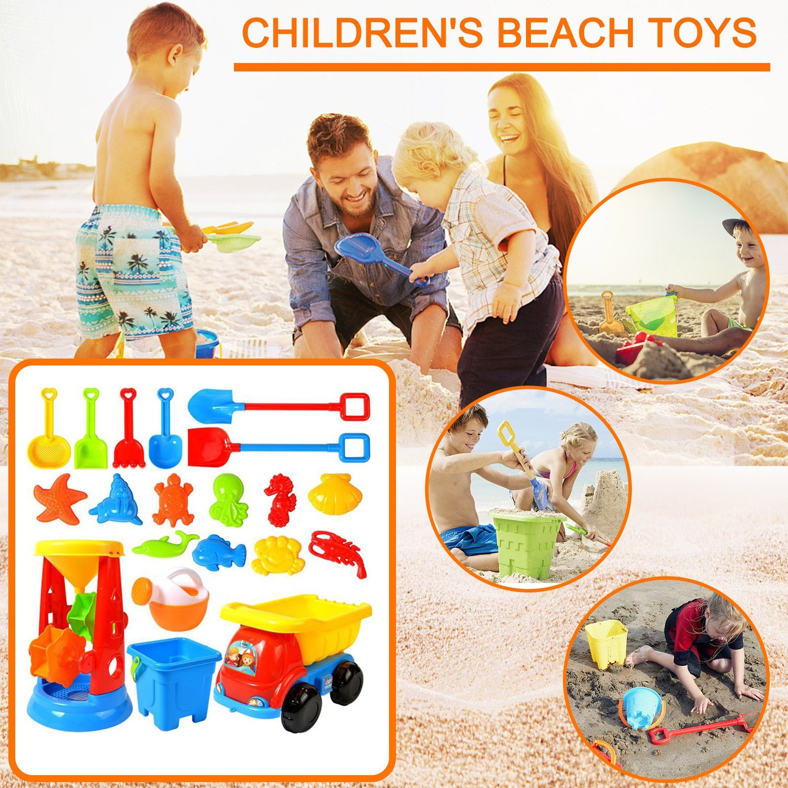 20 Piece Beach Toy Sand Set Sand Play Sandpit Toy Summer Outdoor Toy Educational Kids Beach Bath Toys Beach Play Sand Water Sale starry sky sand beach toy 18 piece sand set magic space clay sand puzzle power toys