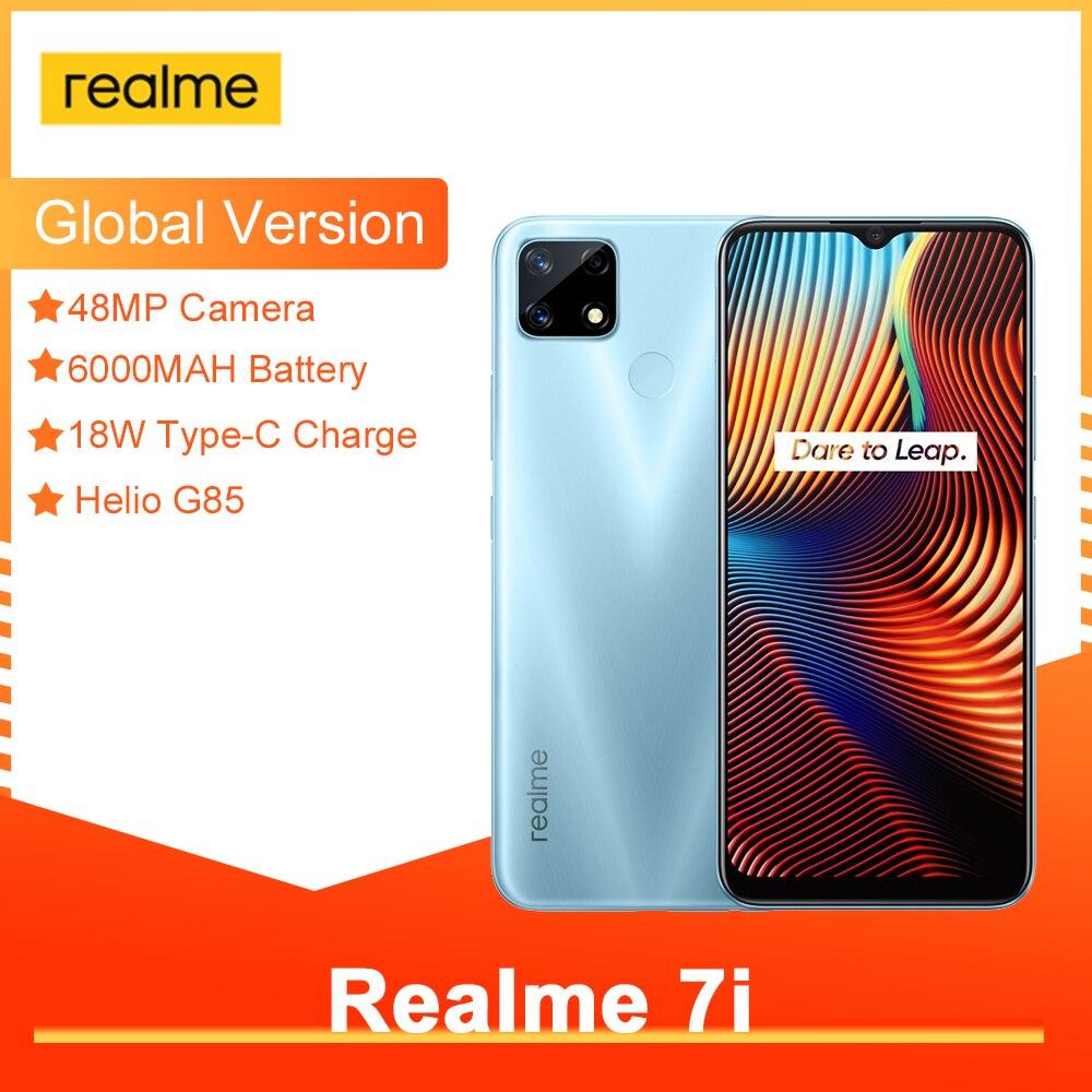 Перейти на Алиэкспресс и купить Realme 7i популярнейшие смартфоны 6,5 дюймов HD Helio G85 Octa Core 4 Гб 64 Гб 6000 мАч 48MP модные AI Quad Камера Android10 LTE сотовые телефоны