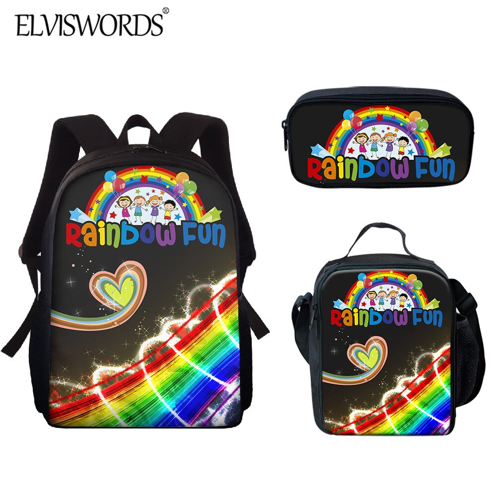 ELVISWORDS Cute Rainbow Backpack Cartoon Kids School bag Women mochila Back to Student Book Bag Girls Kawaii rucksack