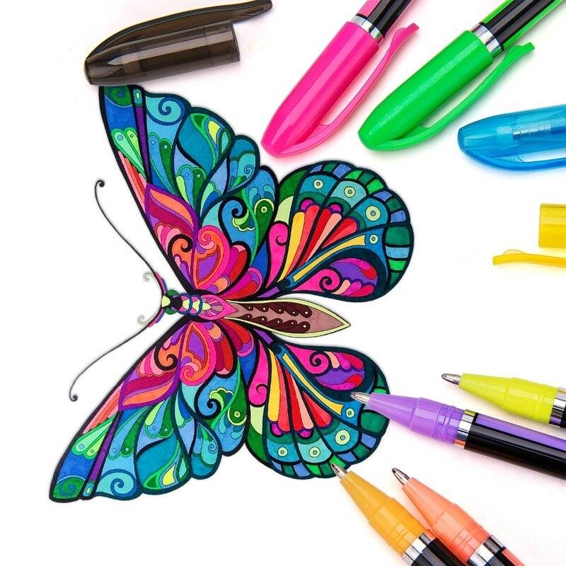 48 colores Set de plumas de Gel metálico plumas brillo Pastel de boceto dibujo lápices de colores arte suministros de la Escuela de Arte de papelería marcadores