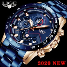 LIGE Men Watches Casual Sport Chronograph Top Brand Luxury 30m Waterproof Quartz Watch Men Fashion Date Stainless Steel Clock