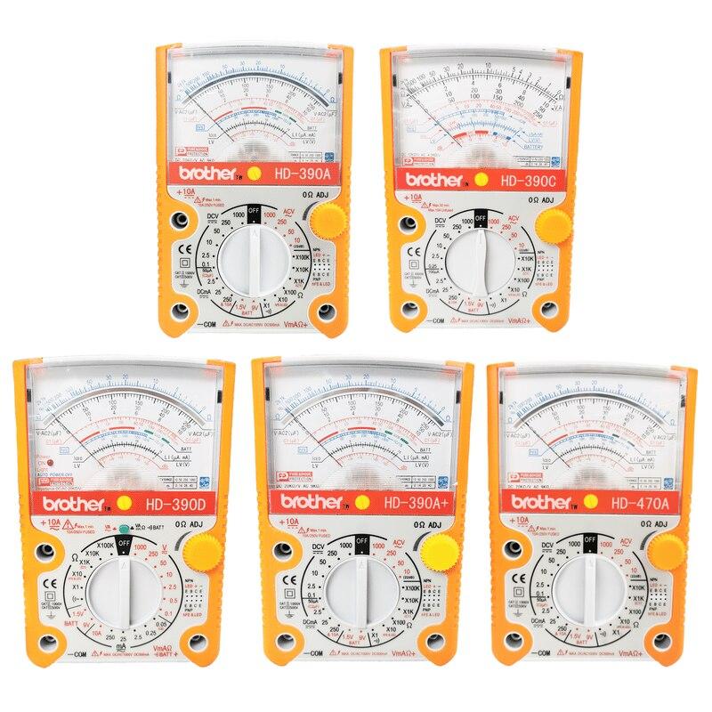 Brother HD-470A/390a/390c/390d multímetro analógico de alta precisão eletricista mecânico casa manutenção ponteiro multímetro