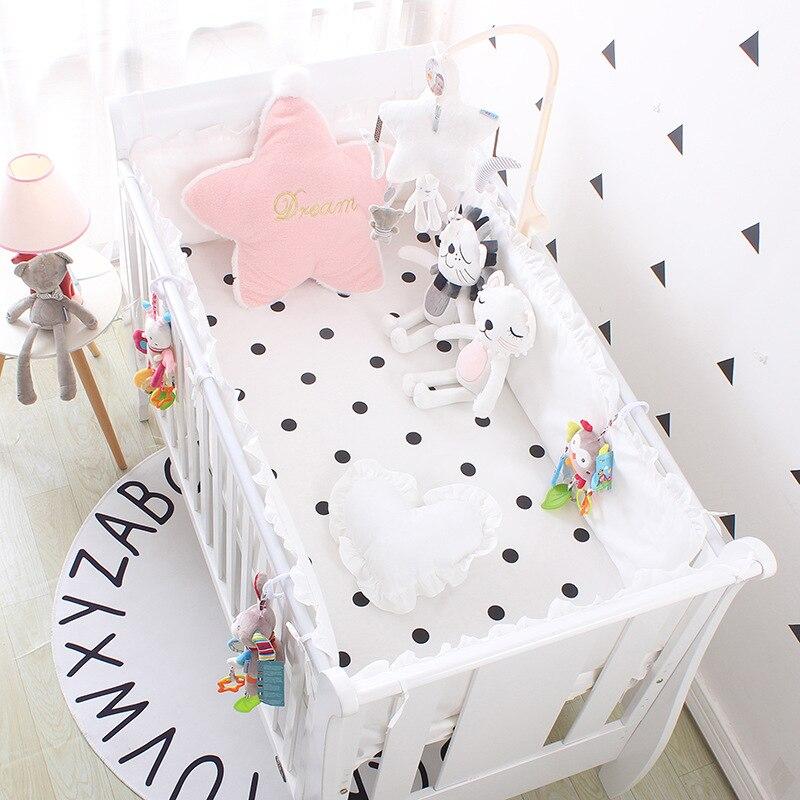 5 قطعة الأبيض دوت طقم سرير الطفل السرير الوفير الرضع السرير حول حماية الفتيات سرير مجموعة قابل للغسل ، 4 الوفير + ورقة
