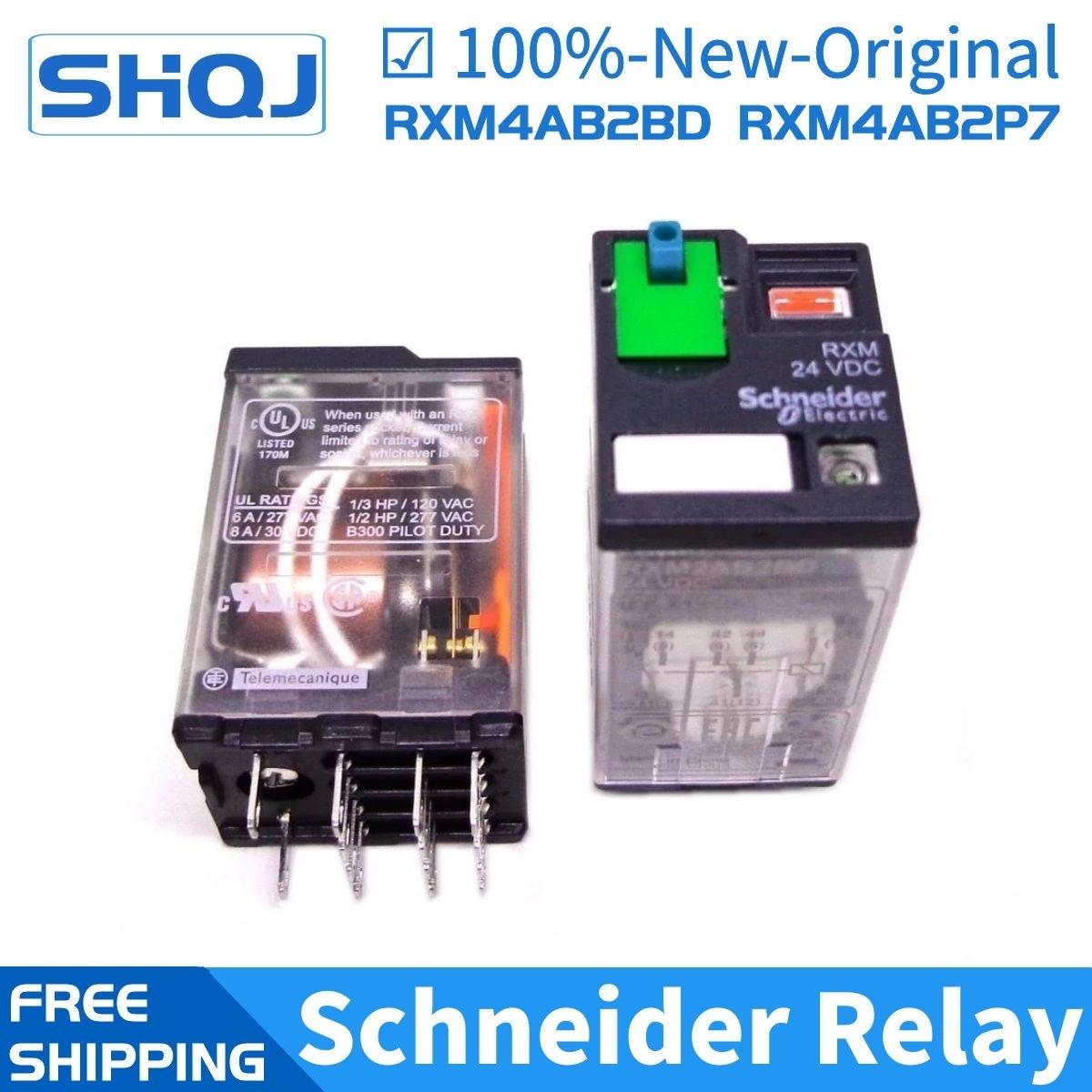 5 قطعة مرحل شنايدر RXM4AB2BD RXM4AB2P7 RXM4AB2JD RXZE1M4C 4CO 6A مرحل + LTB + LED 24VDC 230VAC مرحل شنايدر أصلي جديد