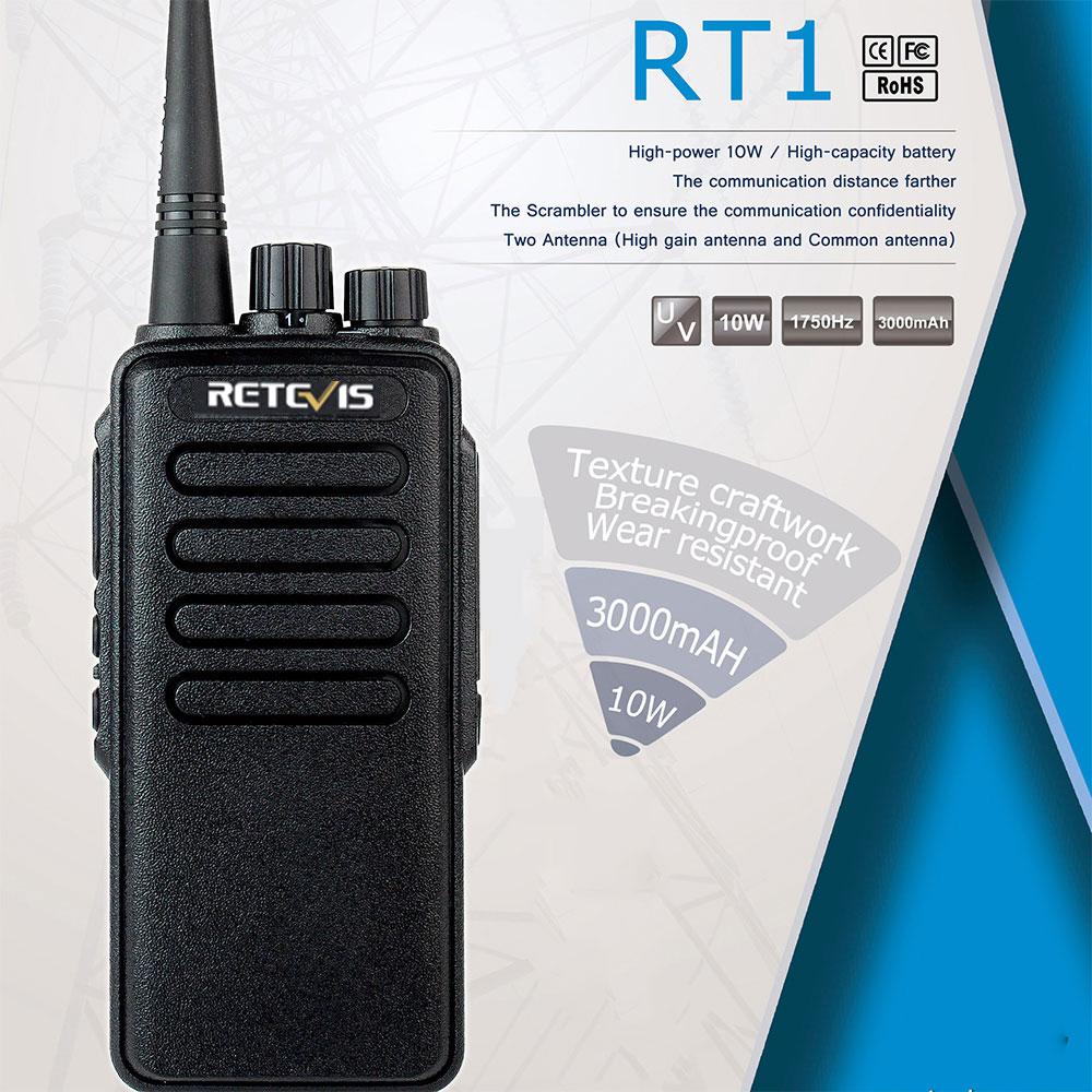 Walkie Talkie de alta potencia Retevis RT1 VHF (o UHF) VOX 3000mAh dos antenas Radio walkie-talkie de dos vías para fábrica almacén granja