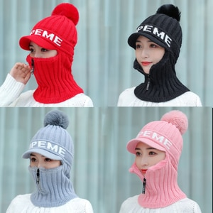 Brand New Winter Visor Hats Women Mixed color knit Beanie Skullies Hat Female Thick Velvet Hair Ball Warm Bonnet Caps Bib Set