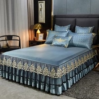 bedspread one piece bed skirt three piece tencel embroidered thickened simmons protective cover 1 5m1 8m sheet cover