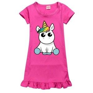 Girls Rose red Birthday party Children unicorn Dress girl Costumes Summer dress Kids unicorn Dresses Princess pajamas Vestido