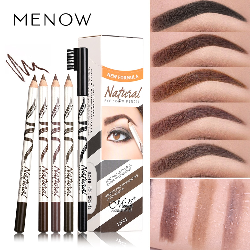 Menow Miele P135 Eyebrow Pencil Fine Eyebrow 12 Waterproof And Sweatproof Five-Color Stud Clear Wild Eyebrow