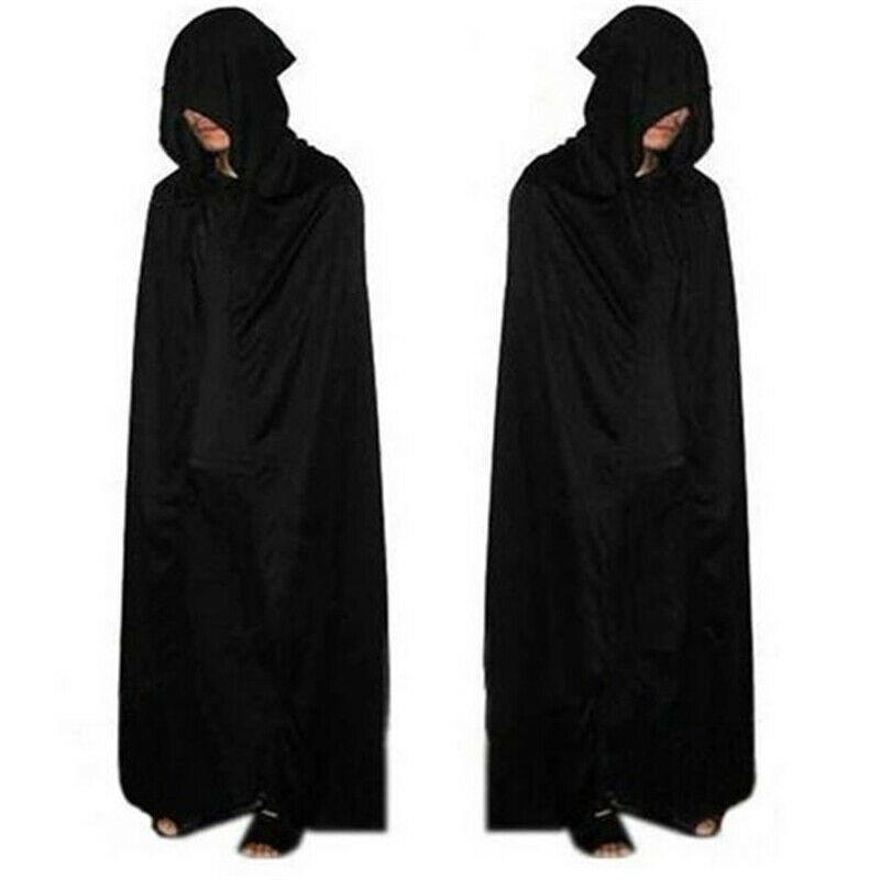 AliExpress - Unisex Hooded Cape Halloween Costume Knight Cloak Black Man Women Full Length Hooded Cloaks Cape Coats Vampire