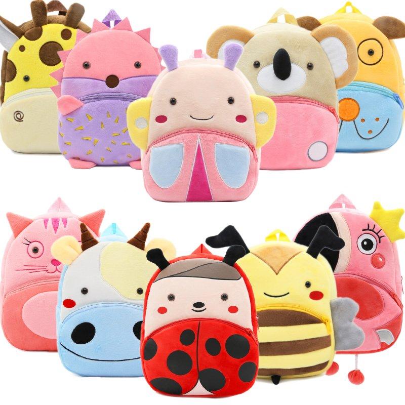 2020 Cartoon Kids Plush Backpacks Mini Kindergarten Schoolbag Plush Animal Backpack Children School