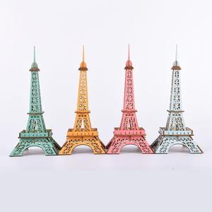 4Pcs Wooden Kids DIY 3D Eiffel Iron Tower Assembly Model Puzzle Toy Home Decor Tabletop Ornaments Handmade Toys Birthday Gift
