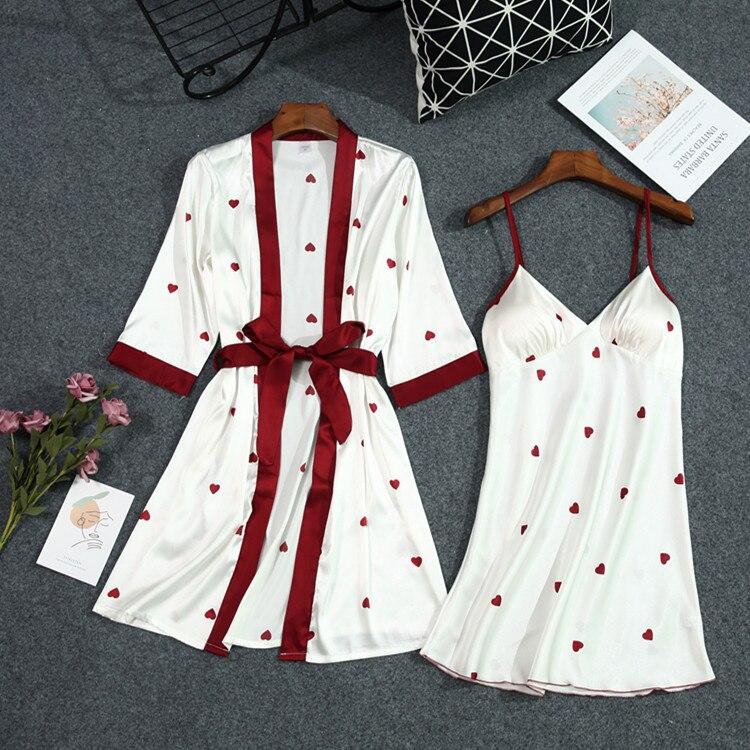 Женский Атласный халат Lisacmvpnel, летний банный халат с принтом и ремнем на груди, мягкая Пижама
