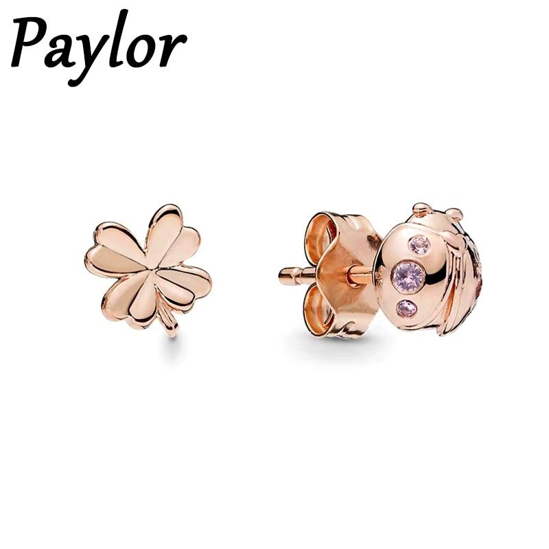 Paylor rosa cor de ouro assimetria joaninha flores orelha studs moda jóias brilho roxo cz zircon brincos brincos