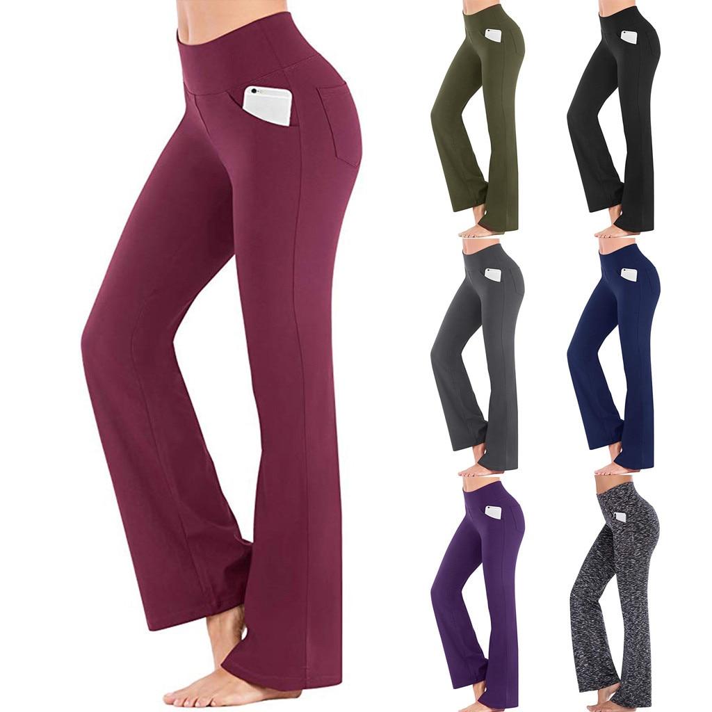 Women Flares Solid High Waist Flare Leg Elegant Pants Autumn Elastic Waist Loose Office Ladies Stretchy Long Trousers #T2G