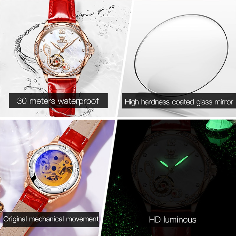 OLEVS New Fashion Casual Women Automatic Mechanical Breathable Leather Strap Bracelet 30M Waterproof Luminous Watches 6656 enlarge