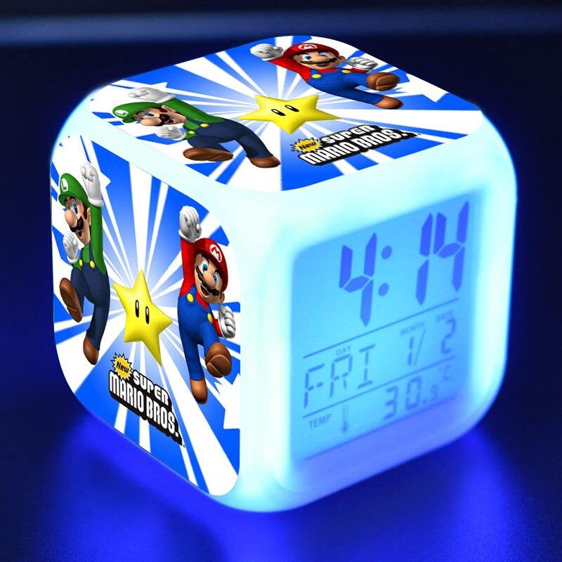 Anime Super Mario Bros Sonic Doll Clock Alarm LED Colorful Light Mario Yoshi Figures Toys for kids christmas gift