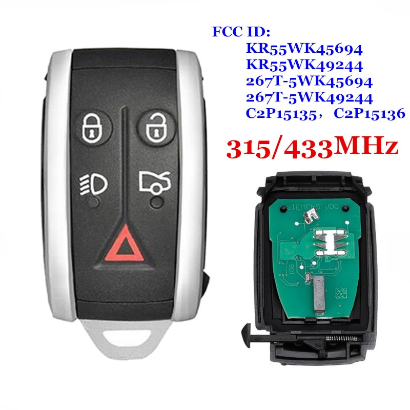 Smart Remote Key 315/433MHz PCF7953A 5 Button For Jaguar XF XFR XK XKR 2009 2010 2011 2012 2013 KR55WK45694,KR55WK49244