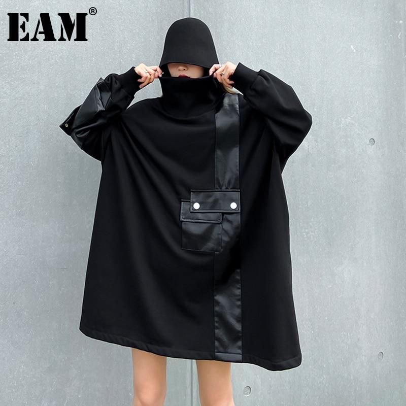 [Eam] solto ajuste plutônio leatter overszied camisola longa nova gola alta manga longa feminina tamanho grande moda primavera outono 2020 1dc328