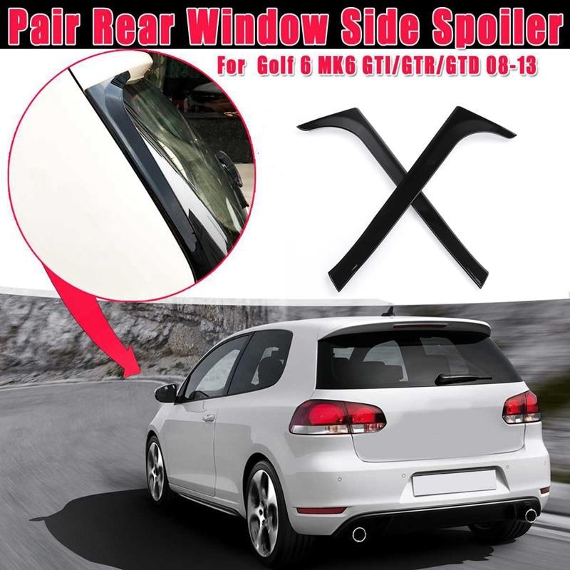 1 par brillante Negro ventana trasera lateral pegatinas para spoiler recortar cubierta para V-W Golf 6 MK6 GTI/GTR/GTD 2008 2009-2013 Canards Splitter