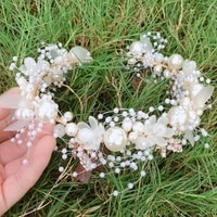 gold flower pearl headband tiara crown wedding bridal princess headbands hair jewelry crystal pearl accessories bride headdress