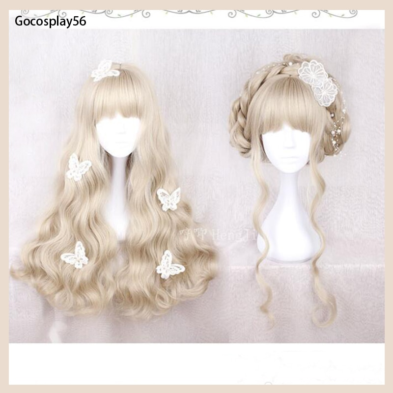 Cute Lolita Wig Light Golden Curly Heat Resistent Synthetic Hair for Girls Women Adult Princess Swee