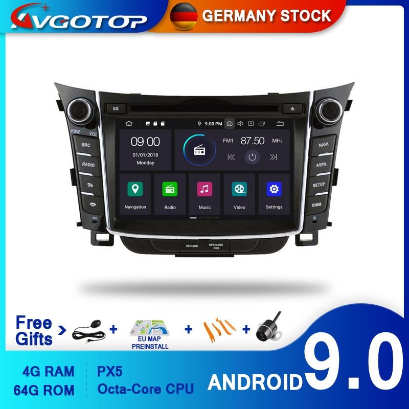 AVGOTOP, reproductor de DVD para coche Android 9,0 para HYUNDAI I30 2012 7 IPS, pantalla HD, navegación, Radio GPS para vehículo