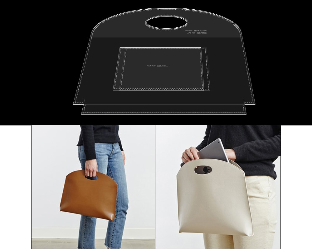 DIY handmade leather goods making acrylic paper grid pattern lady handbag tote bag version drawing template