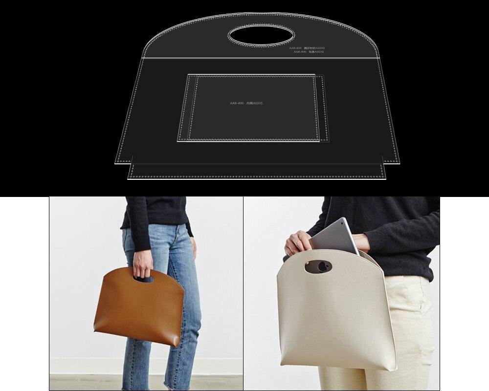 DIY handmade leather goods making acrylic paper grid pattern lady handbag tote bag version drawing template