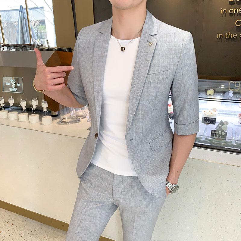 Conjuntos de trajes para hombre de alta calidad, Blazer de manga corta + Pantalones hasta el tobillo, 2 piezas, un botón, pantalones de chaqueta Casual de moda para hombre, pantalones ajustados