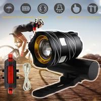 Bicycle headlight T6 night riding glare flashlight mountain bike USB charging car headlight long shot cycling accessories