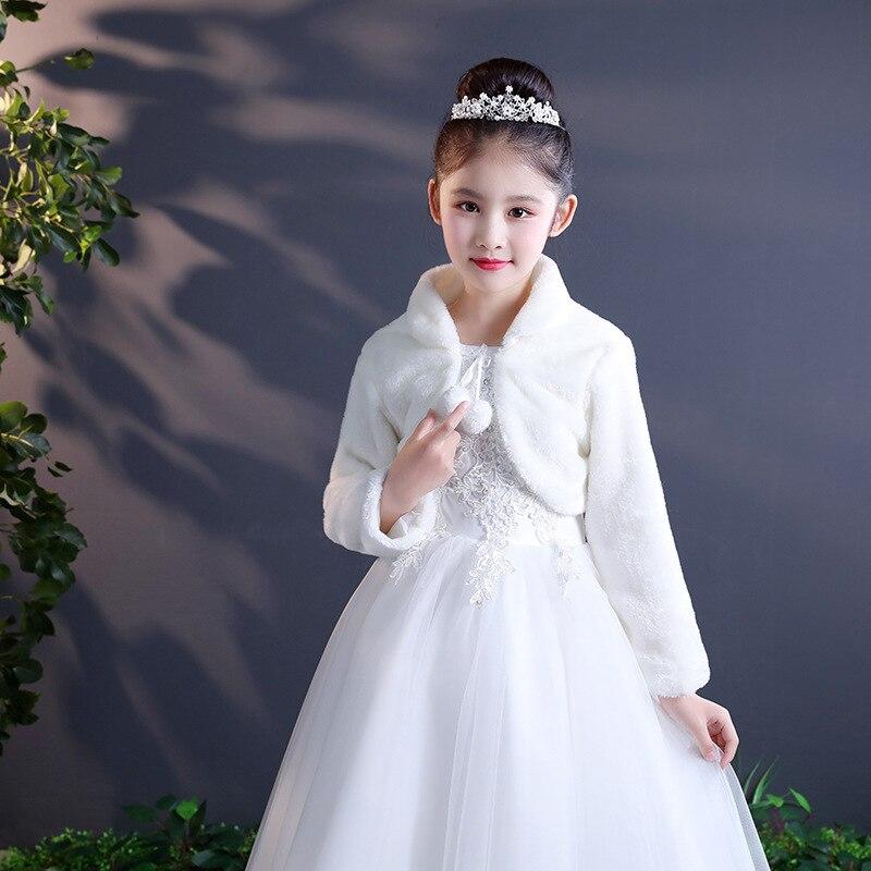 Manga larga capa de piel sintética chal chaqueta encogimiento de hombros Bolero abrigo para niña invierno boda fiesta niños Bolero chaqueta