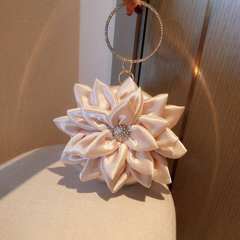 Bolsos de noche con flores en 3D para mujer, caja Circular de lujo con diamantes de imitación, pequeños bolsos de mano y bolsos de mano, de lujo para mujer, para boda o fiesta