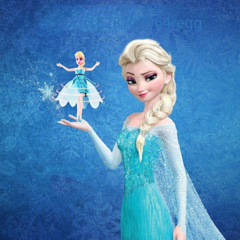 Aeronave de inducción, muñeca pequeña Elsa Princesa, muñeca de juguete de suspensión infrarroja, Mini Dron de Control remoto, regalo para niña