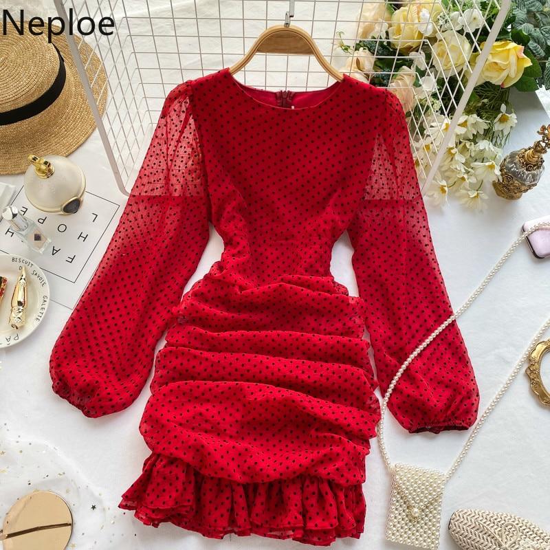 Neploe Slim cintura diseño plisado Dot Ropa Mujer O cuello Puff manga larga Vestido otoño primavera cremallera nuevo Vestido una línea 2020 47880