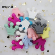 10Pcs Crown Perle Silicone Beads Baby Teething Toys Food Grade DIY Mordedor Bead Necklace Bracelet P