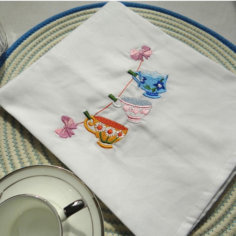Algodão simples chá toalha de vidro concisa upscale guardanapo de mesa artesanal bordado casamento serviette super absorvente decoração para casa