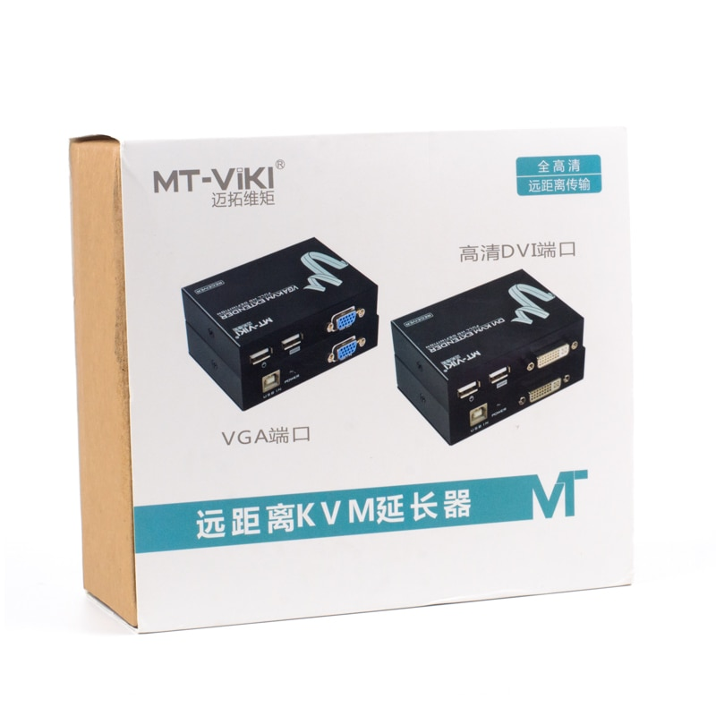 Купить с кэшбэком MT-VIKI KVM Extension 100M Keyboard Video Mouse Repeater Adapter VGA USB Extender via UTP CAT RJ45 LAN Cable MT-100UK-U