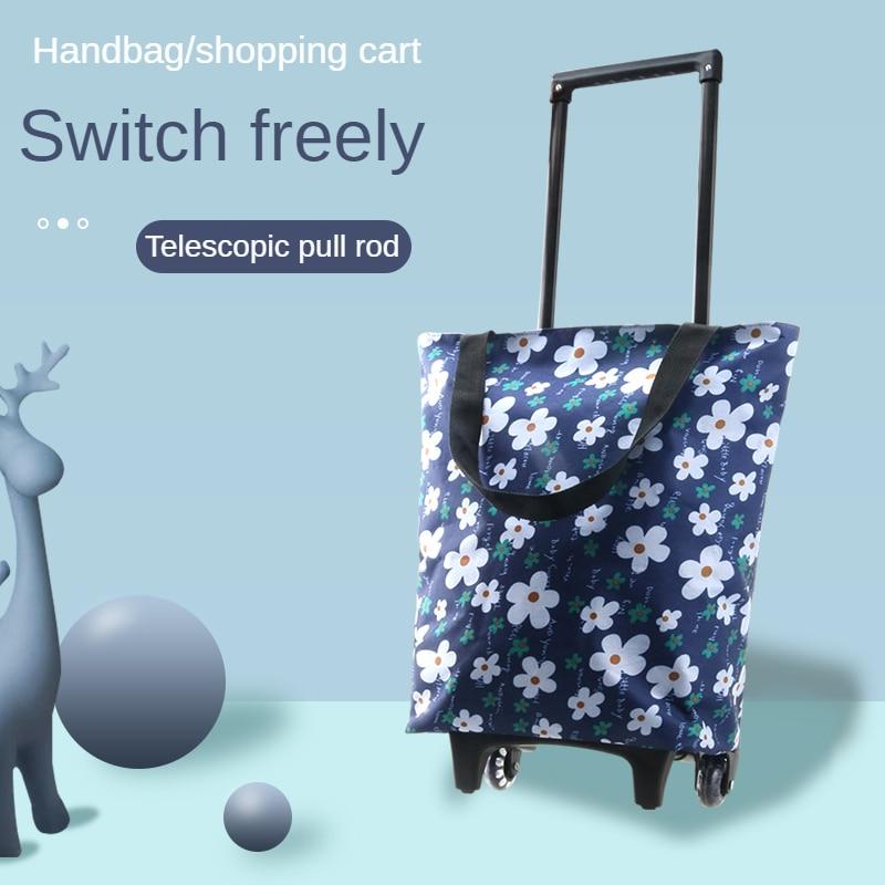Mtong Elderly Supermarket Large Capacity Handbag Fashion Women's Grocery Store Shopping Cart Pull Rod Portable Dual Purpose