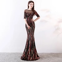 shining o neck striped sequined robe de soiree elegant half sleeve illusion backless slim party formal gowns ladies maxi dress