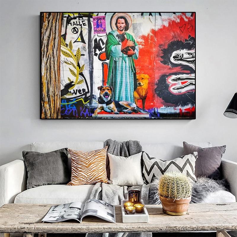 Граффити искусство уличное искусство холст картина Куадрос плакаты настенное искусство для гостиной домашний Декор (без рамки)
