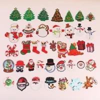 50pcslot embroidery patches clothing decoration accessories santa christmas decoration sock snowman iron heat transfer applique