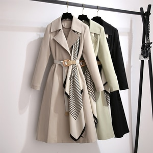 2021 Elegant Fashion Women Trench Office Lady Outerwear Beltd Long Sleeve Spring Autumn Korean Loose Thin All-match Coats Female