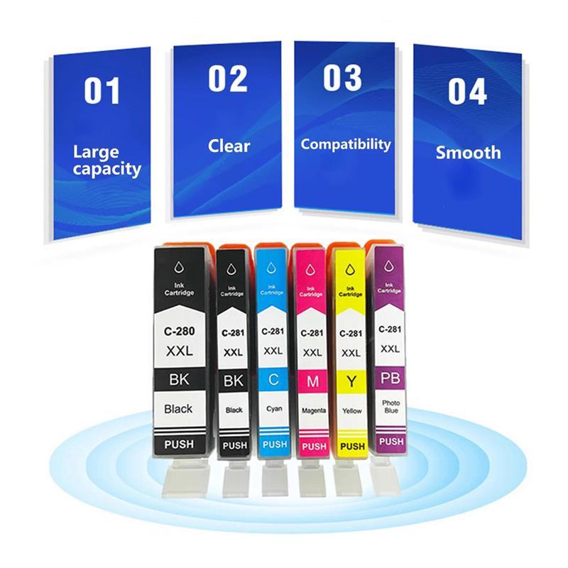 Compatible Ink Cartridge Replacement for Canon PGI-280XXL CLI-281XXL PGI 280 CLI 281 for Canon Pixma TR7520 TR8520 TS6120