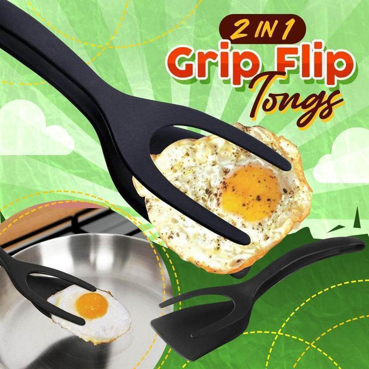 2 In 1 Grip Flip Tongs Egg Tongs French Toast Pancake Egg Clamp Omelet Kitchen Accessories
